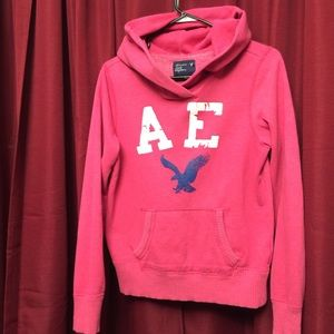 American Eagle-Pink Hooded Sweatshirt-Medium